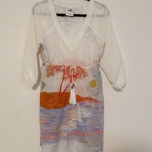 Anthropologie Mermaid Sunset Silk Swim Cover Up